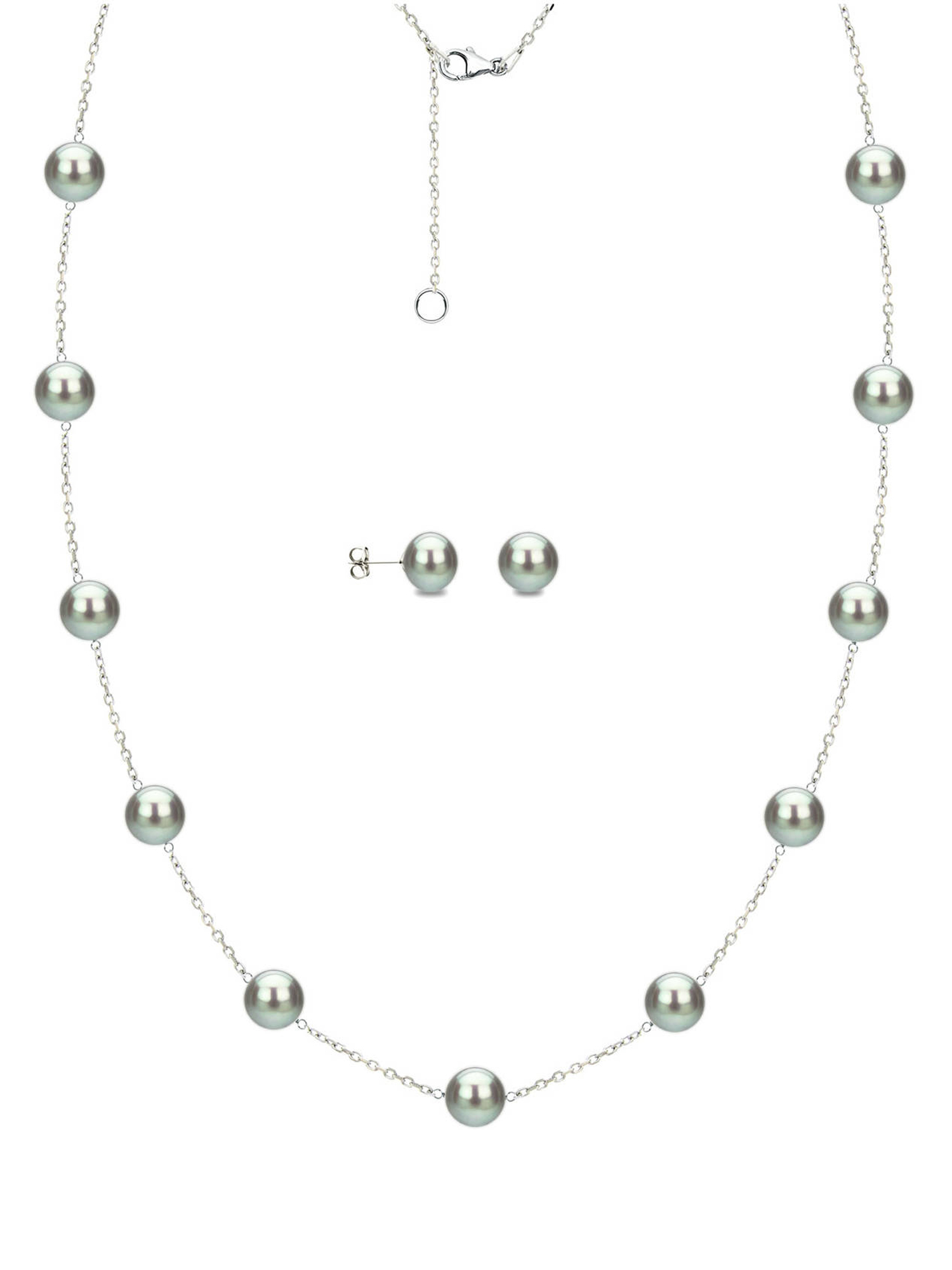 "8mm x 9mm Grey Cultured Freshwater Pearl Sterling Silver Station Necklace and Matching Earring Set, 18"" with... by ADDURN"