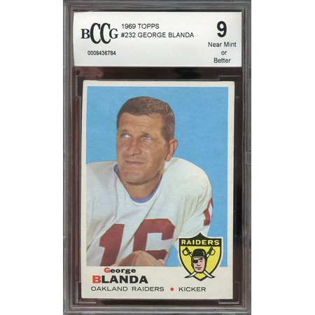 1969 topps #232 GEORGE BLANDA oakland raiders (CENTERED) BGS BCCG 9
