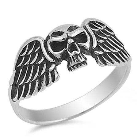 Skull Angel Wings Biker Ring New .925 Sterling Silver Evil Band Size 8 ()