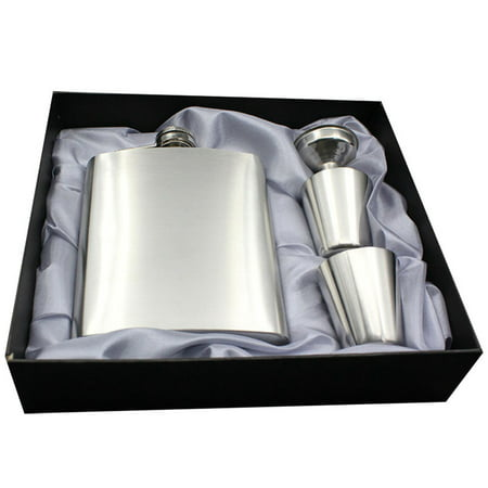 INTBUYING Stainless Steel Leather Wrapped Hip Flask Liquor Funnel with 2Cups set Gift Box, 7 oz (#249257) Leather Wrap Flask