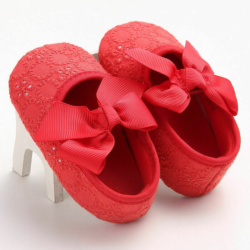 Newborn Infant Baby Girls Princess Non-Slip Lace Flower Baby Shoes Soft Sneaker