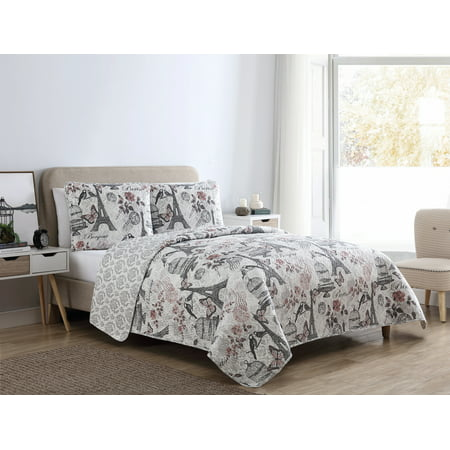 VCNY Home Clay Paris Birds 2/3 Piece Bedding Quilt Set, Shams Included