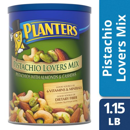 Salted California Pistachios - Planters Pistachio Lovers Mix, Salted, 18.5 oz Canister