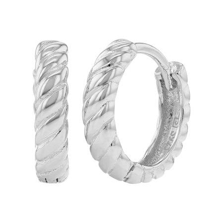Braid Silver Earrings - 925 Sterling Silver Hoop Earrings for Girls Braided Huggie 0.31