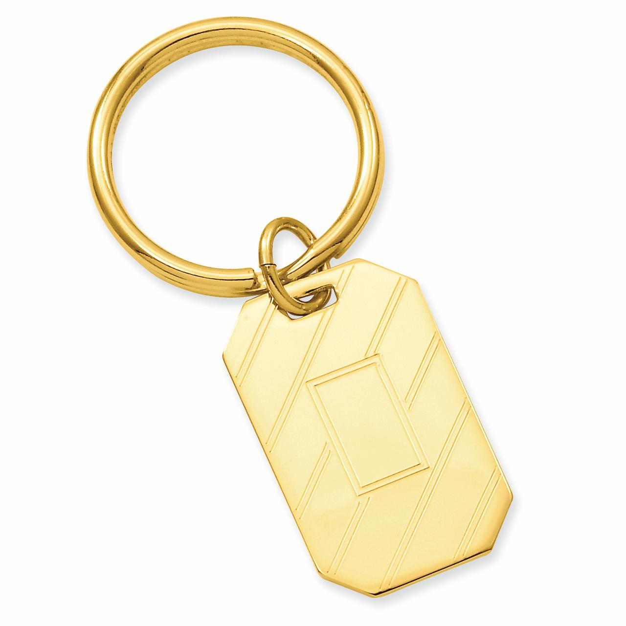 Gold-plated Etched Diagonal Line Key Ring Size by