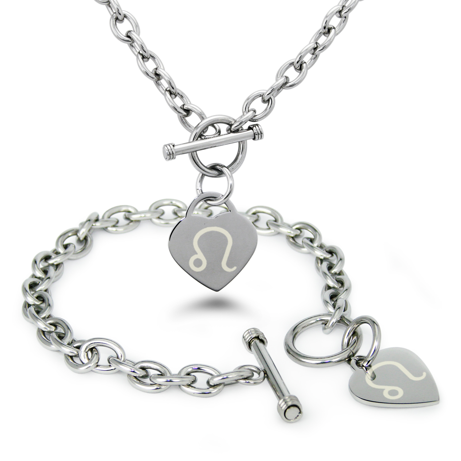 Stainless Steel Leo Astrology Symbol Heart Charm Toggle Bracelet & Necklace