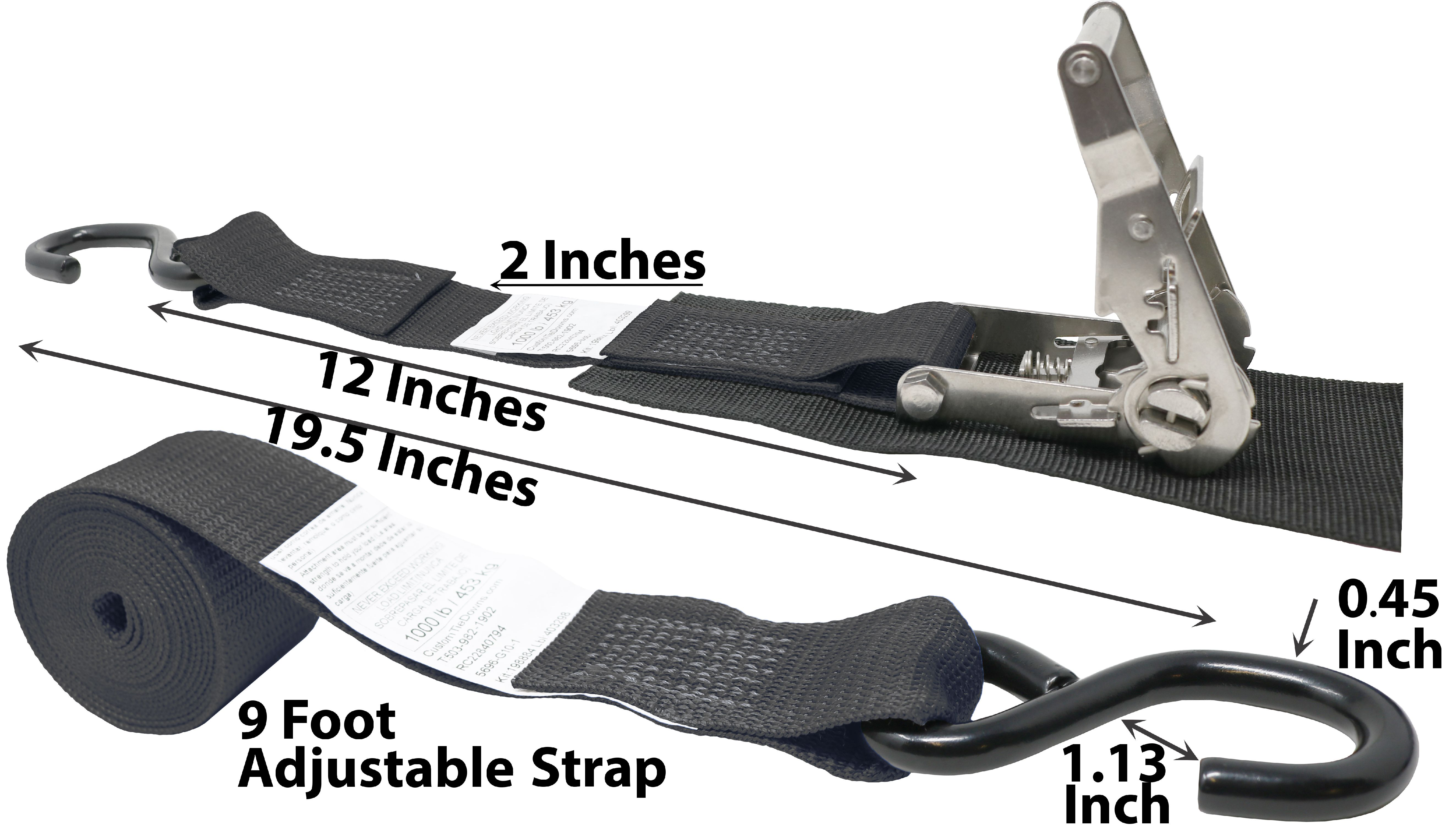 CustomTieDowns 1 Inch x 16 Foot Replacement Ratchet Strap Black Stainless Steel S Hook On One End.