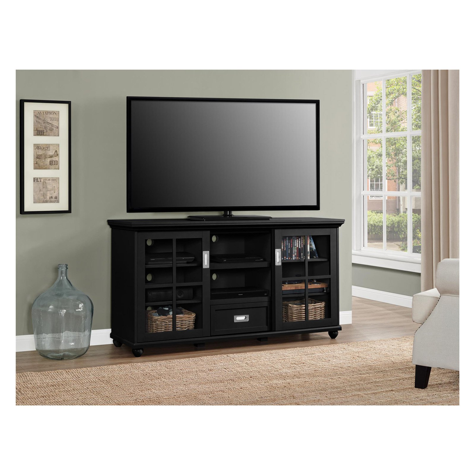 Ameriwood home aaron lane 55 tv stand black walmart com