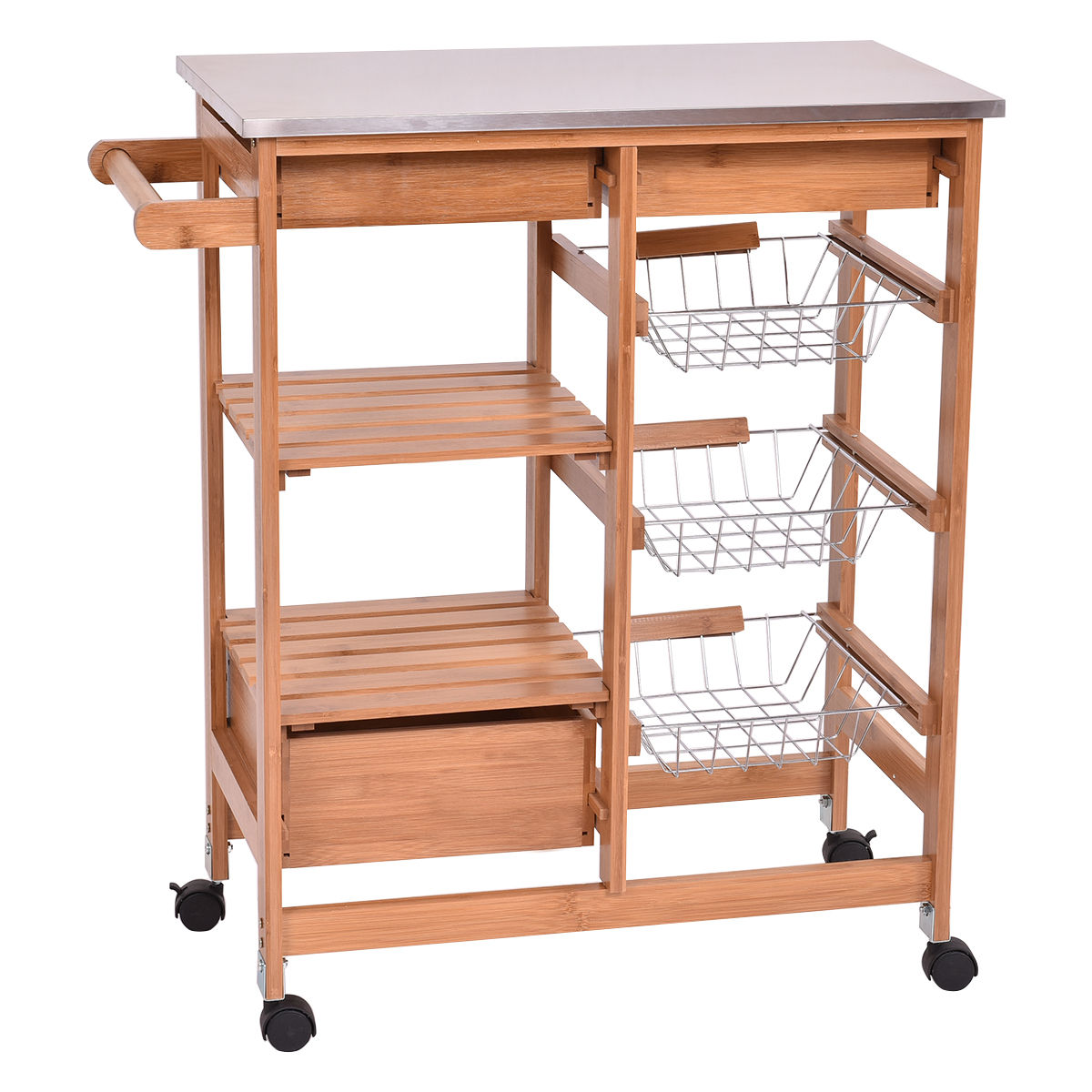 Gymax Bamboo Rolling Kitchen Island Trolley Cart Storage Shelf Drawers