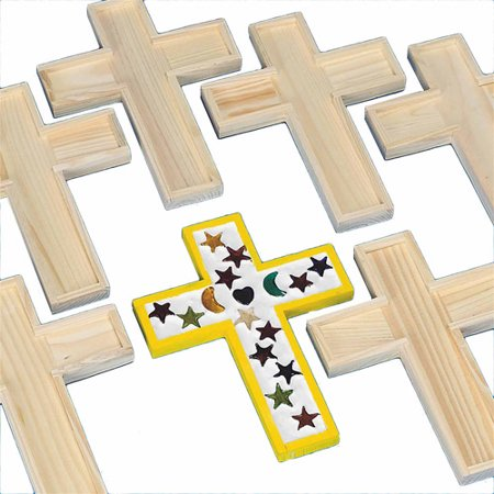 Unfinished wooden cross tile trivet pack of 6 for Cheap wooden crosses for crafts