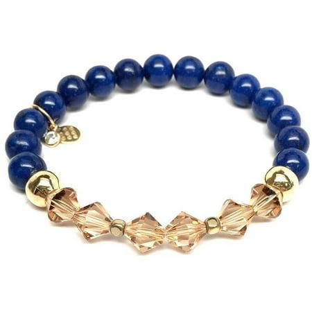 Swarovski Blue Bracelets - Blue Jade Swarovski Crystal Chloe 14kt Gold over Sterling Silver Stretch Bracelet