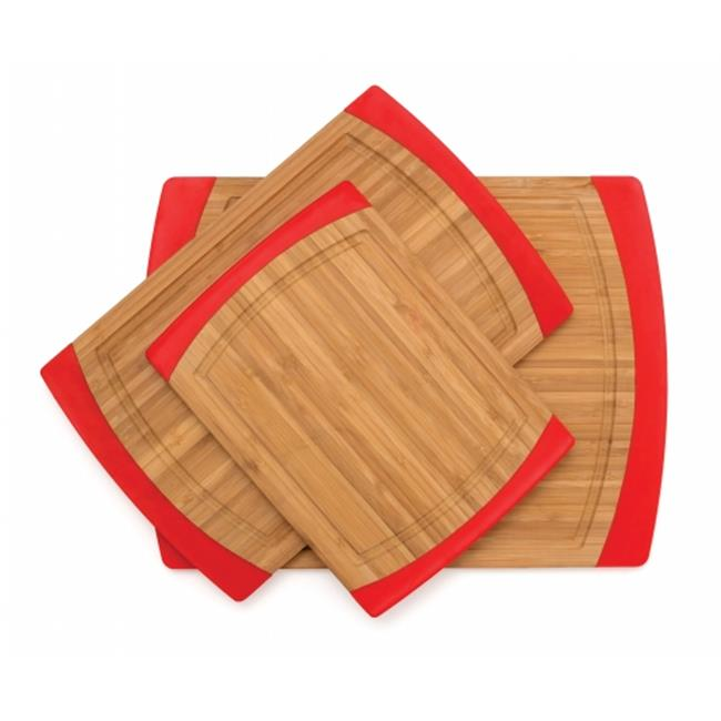 Lipper International 8312R Bamboo & Red Silicone Non Slip Cutting Board Large