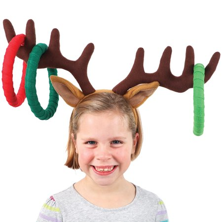 Christmas Reindeer Headband Ring Toss Game - Xmas Fun For Ages 6 And Up - Diy Ring Toss Game