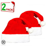 Luxtrada 2PCS Christmas Hat Santa Hat Xmas Holiday Hat for Adults, Kids Unisex Comfort Christmas Hats for Christmas New Year Festive Holiday Party Supplies (For Adult)