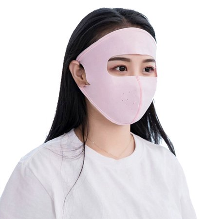 Outdoor Anti UV Full Face Silk Mask Breathable Cover Sun UV Protection