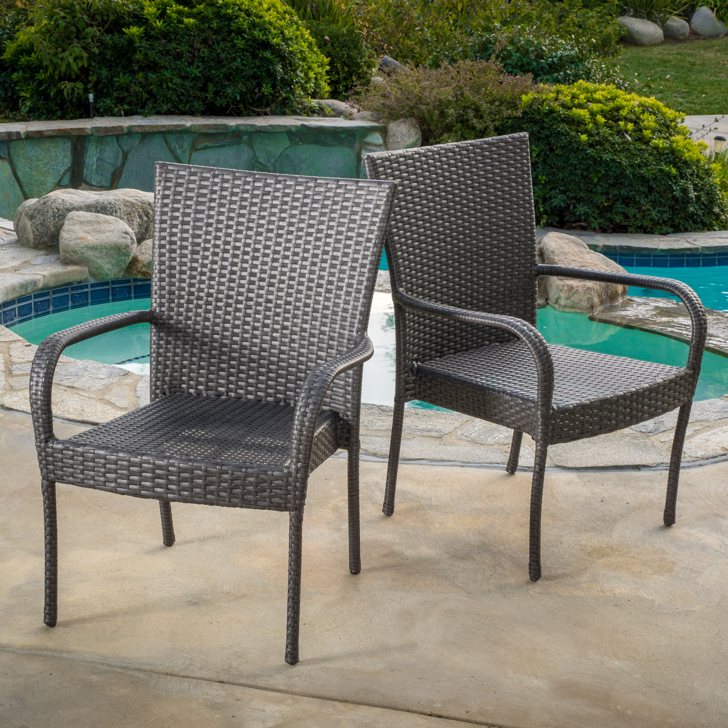 Noble House Outdoor PE Wicker Grey Stackable Club Chairs (Set of 2) by Noble House