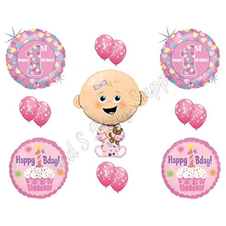 BABY GIRL'S 1ST First Birthday Party Balloons Decoration Supplies Teddy - Bear Balloon