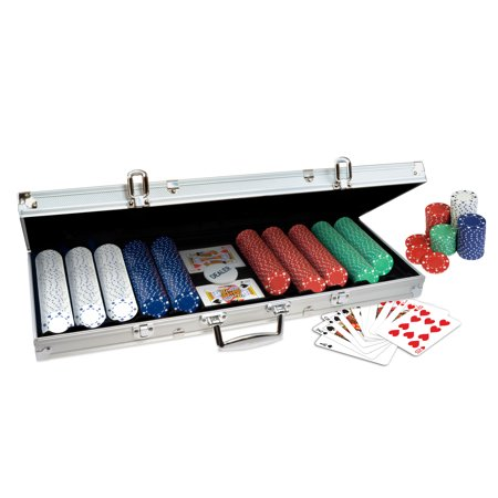 Power Chip - ProPoker 500 Poker Chip Set with Aluminum Case, 2 Decks of Cards, and Dealer Button