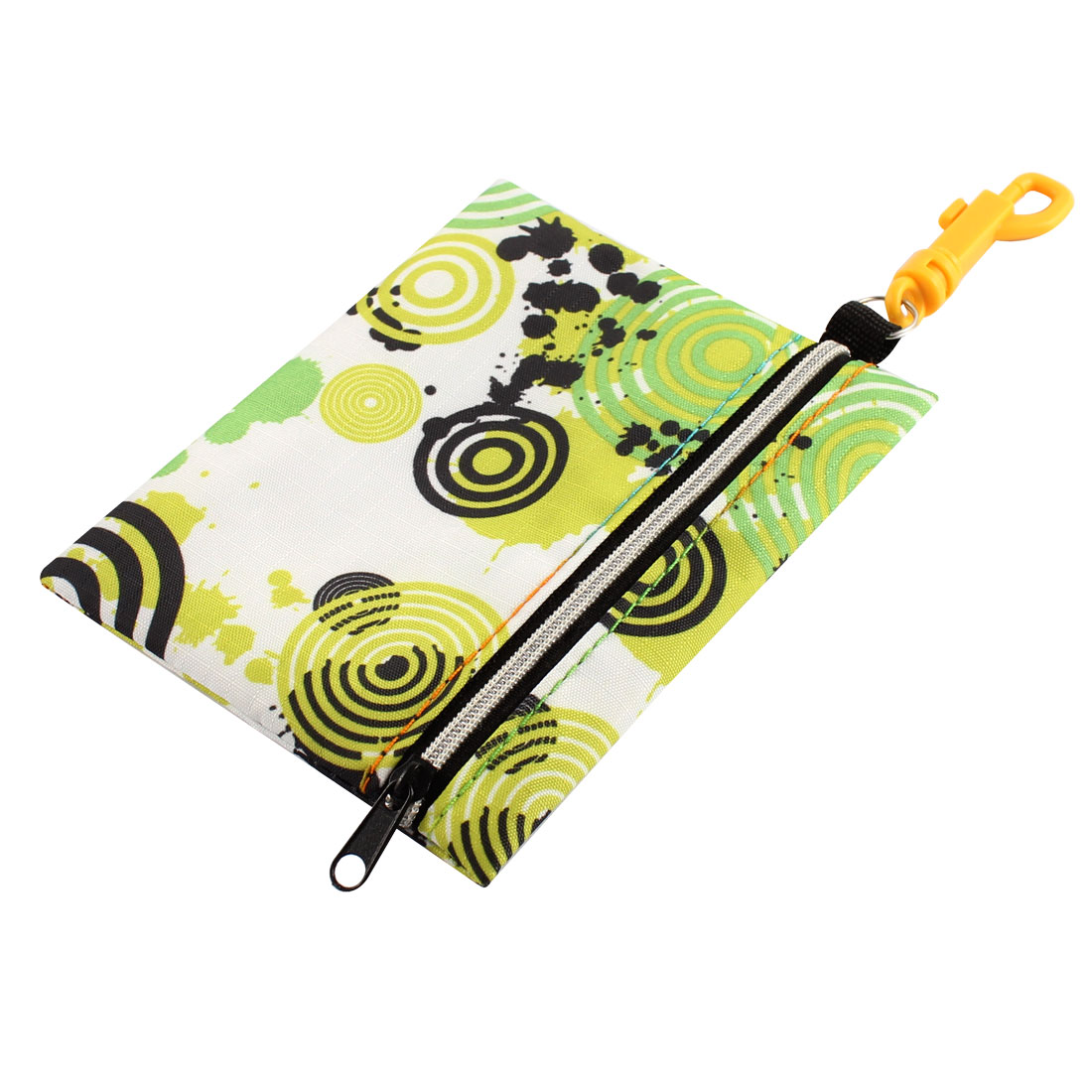 Lady Portable Retro Circle Print Zippered Carabiner Key Money Coin Purse Bag