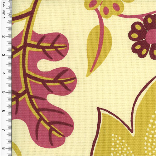 Designer Cotton Pink/Yellow Floral Print Home Decorating Fabric, Fabric By the Yard