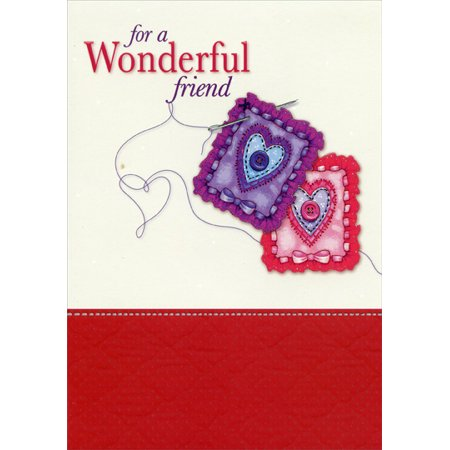 - Designer Greetings Sewing Needle Heart Patches: Friend Valentine's Day Card