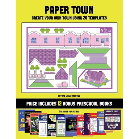 Cutting Skills Practice (Paper Town - Create Your Own Town Using 20 Templates) : 20 full-color kindergarten cut and paste activity sheets designed to create your own paper houses. The price of this book includes 12 printable PDF kindergarten workbooks - Kindergarten Halloween Printable Crafts
