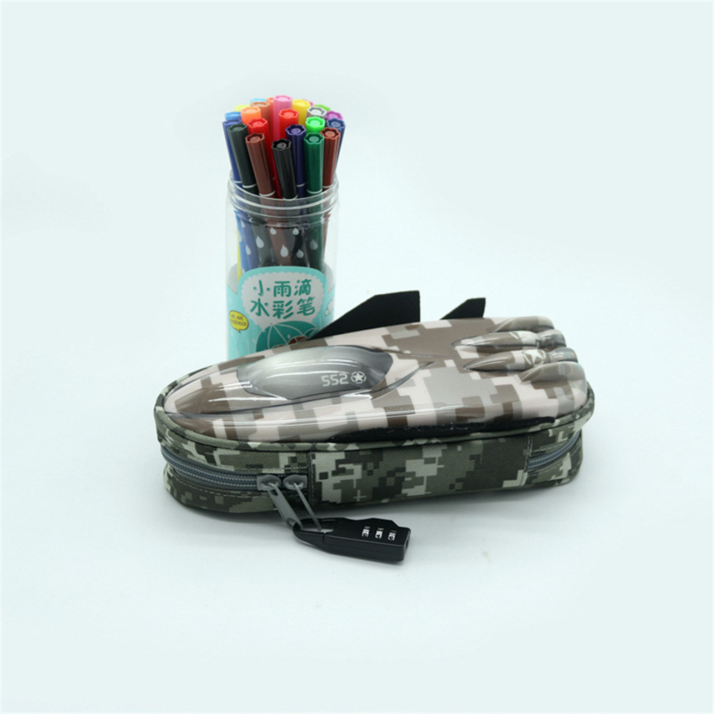 DZT1968 Fighter Modeling Pencil Case With Combination Lock Double Zipper Cute Pencil Box