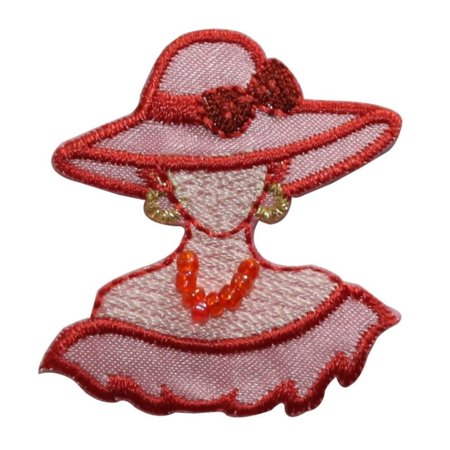 ID 7483 Chic Pink Woman Bust Hat Fashion Iron On Embroidered Patch Applique