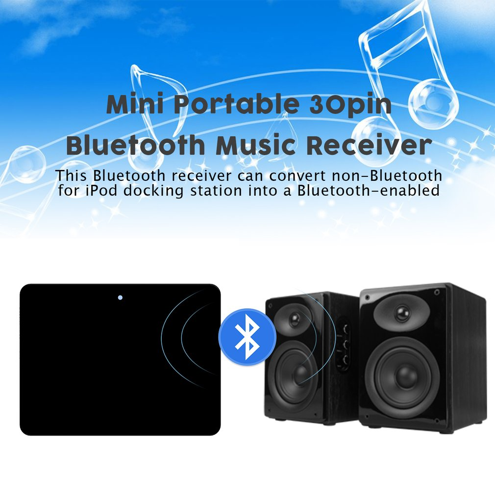 For 30pin iPod iPhone to Stereo Sounddock Bluetooth Audio Music Receiver Adapter