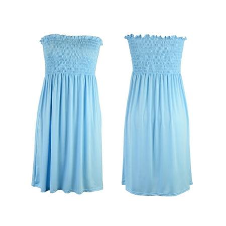 Mini Dress For Womens Strapless Mini Smoken Sheering Boob Tube Bandeau Top Shirred Summer Dress Black S Black And White Strapless Dress