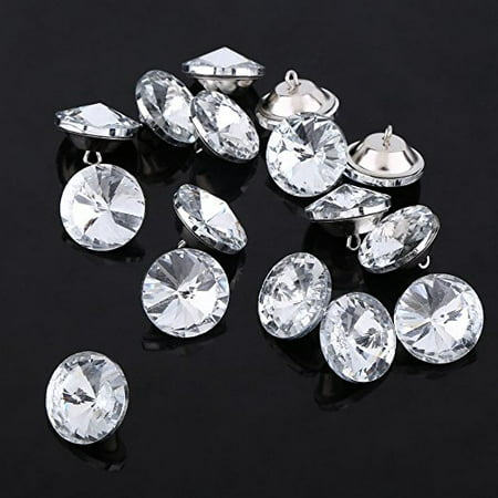 50Pcs Rhinestone Crystal Buttons With Metal Loop Round Buttons For Sewing Sofa Upholstery Button Diy Crafts Decoration   Size   25Mm