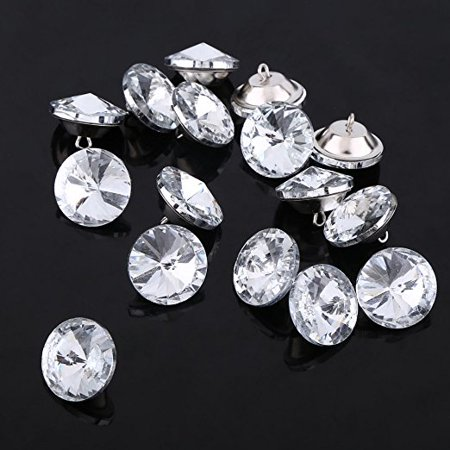 50Pcs Rhinestone Crystal Buttons With Metal Loop Round Buttons For Sewing Sofa Upholstery Button DIY Crafts Decoration ( Size : 25mm )