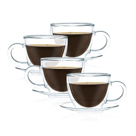 JavaFly Double Wall Glass Cup With Saucer, Set of 4, Flowering Tea Cup Set, Insulated Cappuccino Cups, Mugs 12 oz