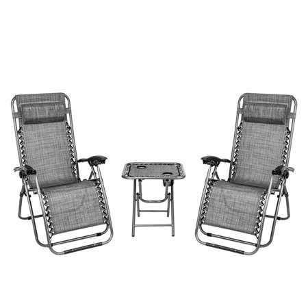Ktaxon 3 PCS Zero Gravity Chair Patio Chaise Lounge Chairs Outdoor Yard Pool Recliner Folding Table Chair Set Gray ()