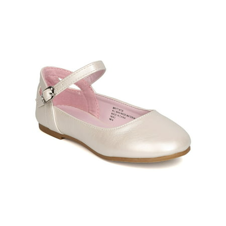 New Girl Little Angel Britt-873E Leatherette Ankle Strap Cut Out Ballet Flat - Girls Ballet Flats With Strap