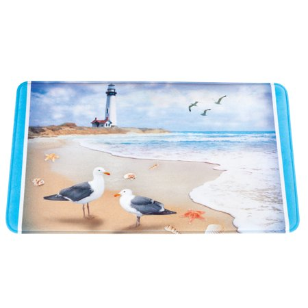 Coastal Bath (Seaside Escape Coastal Scene Bath Mat with Skid-Resistant Backing - Seasonal Bathroom Decorative Accent)