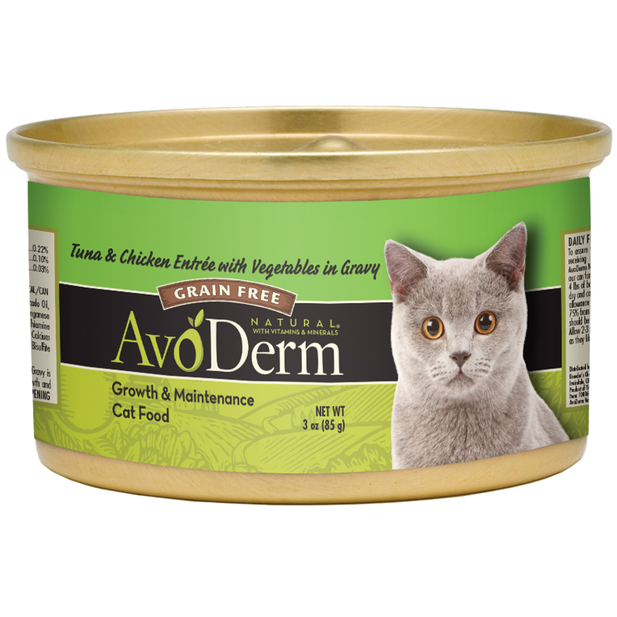 AvoDerm Natural Tuna and Chicken with Vegetables Entree Wet Cat Food, 3.0 Oz. Can