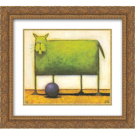 Green Cat with Ball 2x Matted 16x14 Gold Ornate Framed Art Print by Daniel Kessler