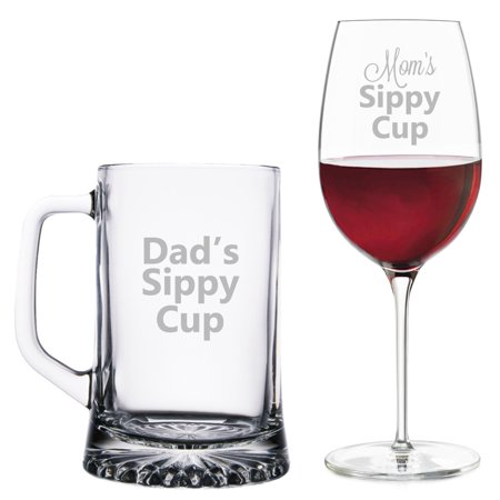 Daddy's Sippy Cup Beer Mug Mommy's Sippy Cup Wine Glass (Mommy To Be Wine Glass)