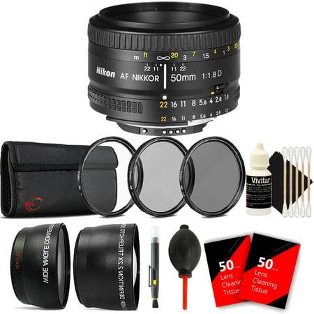 Nikon AF FX NIKKOR 50mm f/1.8D Prime Lens for Nikon Digital SLR Cameras with Accessories ()