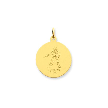24k Gold-plated Sterling Silver St. Christopher Football