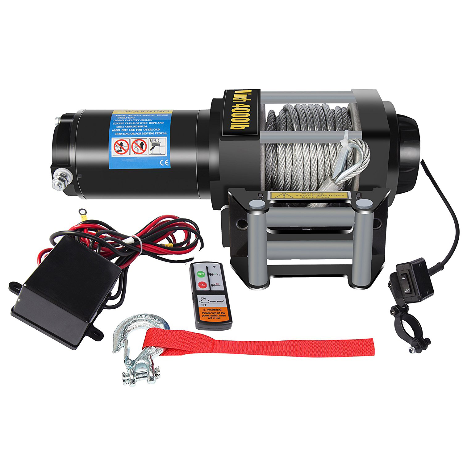 dcflat 12v 4000lbs wire rope electric winch for towing atv utv boat marine wiring diagram dcflat 12v 4000lbs wire rope electric winch for towing atv utv boat off road with mounting bracket wireless remote control walmart com