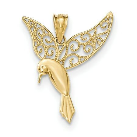 14k Yellow Gold Polished Hummingbird Pendant / Charm 14k Yellow Gold Hummingbird Charm