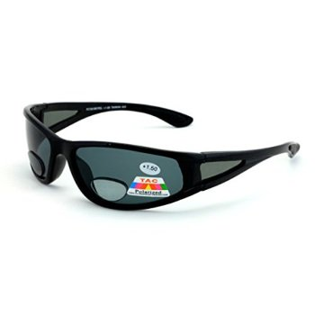 Mens Polarized fly fishing sunglasses with Rx magnification bifocal lens  readers (Black Black Lens 7334178fc