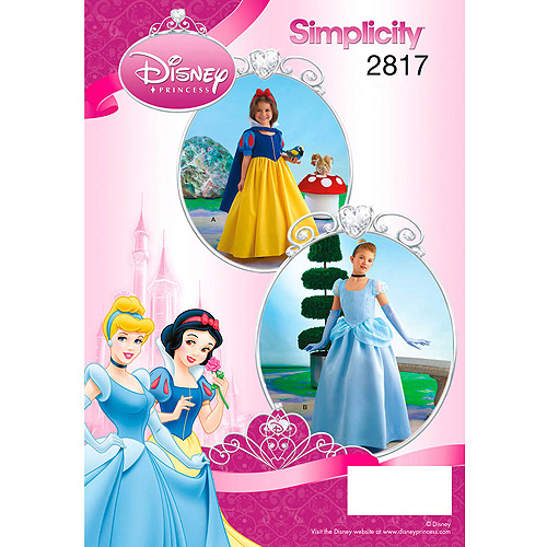 Simplicity Pattern Girl's Disney Snow White and Cinderella Princess Costumes, (7, 8, 10, 12, 14)