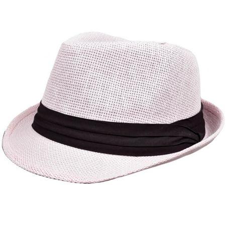 Small Medium Light Pale Pink Woven Straw Fedora Stetson Gangster Mesh Hat FD-107](Pink Fedora)
