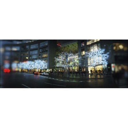 Buildings lit up at the roadside Columbus Circle New York City New York State USA Canvas Art - Panoramic Images (15 x - Information Columbus Circle