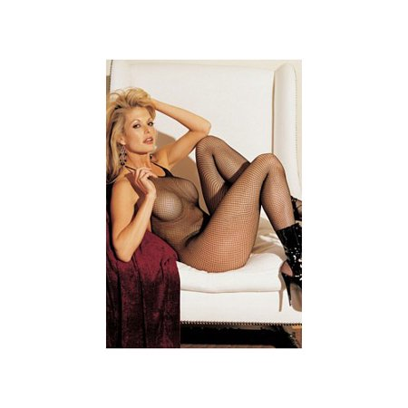 Cut Halter Bodystockings - Shirley of Hollywood Fishnet, Halter Body Stocking, Open Front 90025