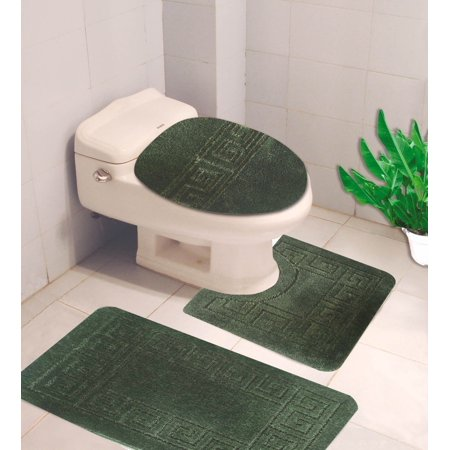 """#10  Hunter Green 3-Piece Egyption Design Bathroom Mat Set, Plain Embossed Large Rug 19""""x 30"""", Contour Mat 19""""x19"""", and Toilet Lid Cover 19""""x19"""" with Rubber Backing"""
