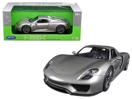 porsche 918 spyder with top silver 1 18 diecast model car by welly. Black Bedroom Furniture Sets. Home Design Ideas